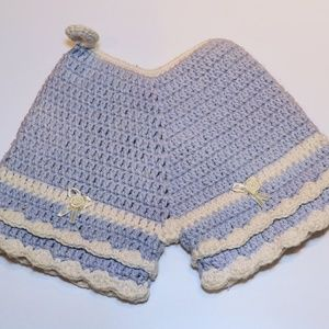 VTG Blue Shorts Crochet Pot Holder Nursery Decor